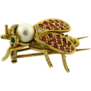 Antique Ruby Diamond Pearl Emerald 18k Yellow Gold Insect Brooch