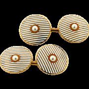 Riker Bro's American Set Of Enamel Pearl 14k Yellow Gold Men's Cufflinks