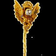Antique French Art Nouveau Griffin Stick Pin .35 Cushion Cut Diamond 18k Gold