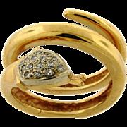 Vintage 18k Yellow Gold Diamond Wrap Around Snake Ring
