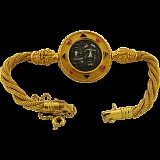 Vintage Designer 22k Yellow Gold Ancient Coin Pink Tourmaline Sapphire Bracelet