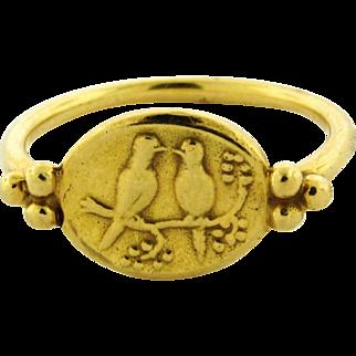 Helen Woodhull Designer 18k Yellow Gold Bird Motif Ring Original Box