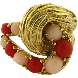 Vintage Pomellato Two Color Coral 18k Yellow Gold Ring