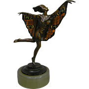 Stunning Lorenzl Art Deco Cold Painted Butterfly Wings Dancing Woman Onyx Base