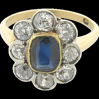 Original Art Deco Deco 2 Carat Sapphire Diamonds 18k Yellow Gold Ring