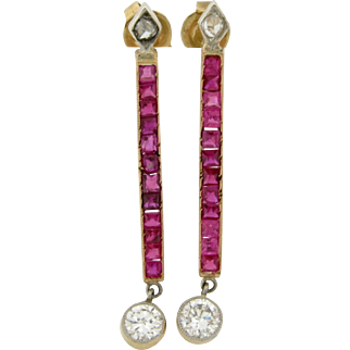 Original Art Deco Rubies Diamonds 18k Rose Gold Earrings