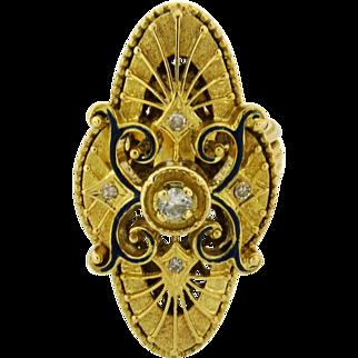 Large Vintage Filigree Enamel Diamond 18k Yellow Gold Navette Ring