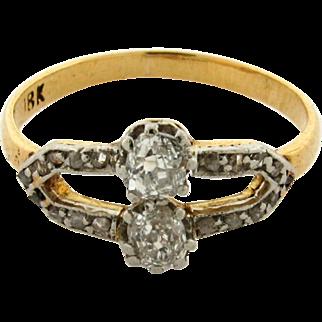 Original Art Deco Old Mine Cut Diamond Platinum 18k Yellow Gold Ring