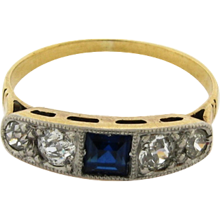 Original Art Deco 4 Diamonds 1 Sapphire Platinum 18k Yellow Gold Ring