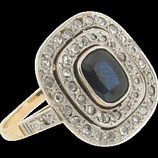 Antique Edwardian Sapphire Rose Cut Diamond Platinum 18k Yellow Gold Ring