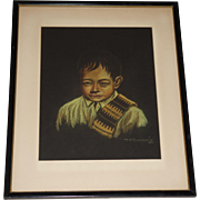 Original Pastel Portrait Drawing of a Young Mexican Boy by Listed Mexican Artist Francisco Tamari'z