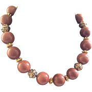 Huge Goldstone Bead Necklace with Ornate Brass Beads