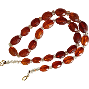 Vintage Natural Honey Baltic Amber Faceted Bead Necklace