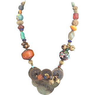Chinese Export Necklace with Huge Jade Pendants