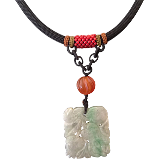 Vintage Natural Hand Carved Jade Pendant And Black Cord Necklace