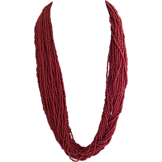 Vintage Red Glass Coral Seed bead necklace 30 Strands