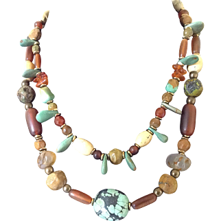 Turquoise Two Strand with horn beans Necklace