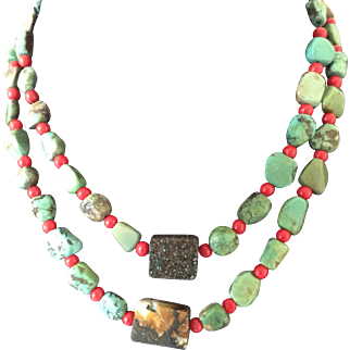 Natural Turquoise Nuggets and Glass Coral Beads Two Strands Necklace
