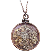 Vintage Solid Gold Flake & Gold Nugget Pendant Necklace w/ Gold Filled Chain