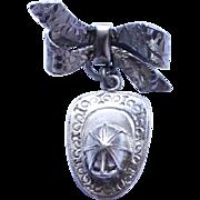 Vintage Sterling Silver Fireman Hat Brooch Pin
