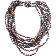 Vintage Brown Glass Beaded Multi Strand Necklace