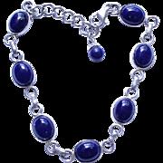 Vintage Sterling Silver & Blue Lapis Link Bracelet