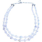 Vintage Clear Crystal Glass Beaded Double Strand Necklace