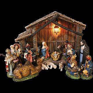 "Vintage Fontanini Italian 10"" Mache Nativity Manger Scene Christmas Set 18 Pieces"
