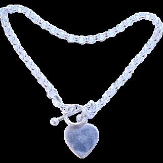Sterling Silver Polished Heart Dangle Charm Toggle Bracelet