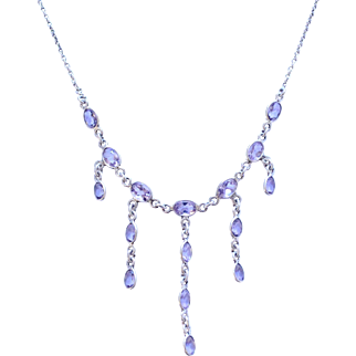 Vintage Sterling Silver & Light Purple Stone Bib Necklace