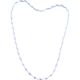 Vintage Sterling Silver Twisted Herringbone Chain Necklace