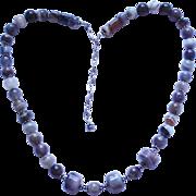 Vintage Sterling Silver & Quartz Beaded Necklace