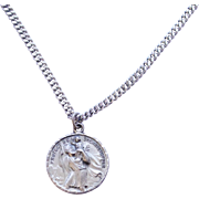 Vintage Sterling Silver St. Christopher Pendant Necklace Signed HMH