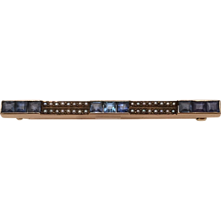 Lovely Edwardian Bar Pin in 14 Kt. Gold with Sapphires and Seed Pearls