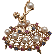 Fancy 1950s Ballerina Pin in 14 Kt. Gold with Pearls, Rubies, and Sapphires