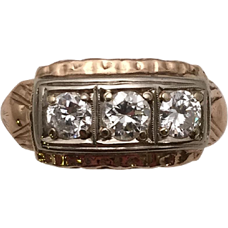 1930s Ring with Three Sparkling 20-Point Diamonds in 14 kt. Gold