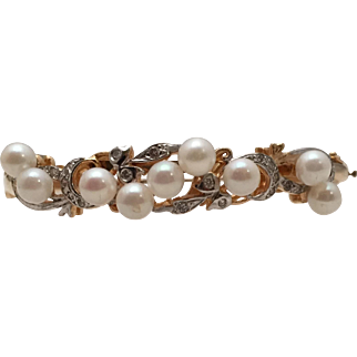 Lovely Cultured Pearl, Diamond, 14 Kt. Gold Bangle Bracelet