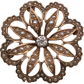 Lovely Victorian Starburst Snowflake Pin / Pendant in 14 Kt. Gold with Diamond and Seed Pearls