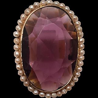 Huge Amethyst, Seed Pearl, 14 Kt. Gold Ring