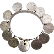 Special Mid-Victorian Love Token Bracelet with 11 Seated Liberty Dimes, 1 Capped Bust Dime with Garnet