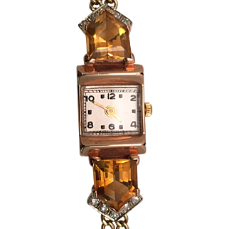 Fabulous Retro All-14 Kt. Gold Watch with Shield-Shaped Citrines and Diamonds