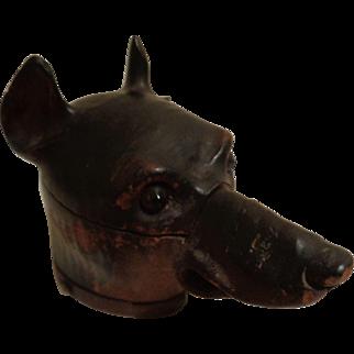 Vintage Carved Wooden Doberman Dog Ink Well Pen Holder