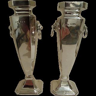 Pair of Vintage 1923/24 Sterling Silver Vases