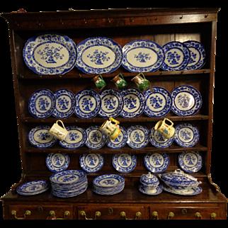Antique Pekin Flow Blue Part Dinner Service 1910