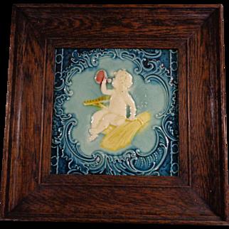 Antique Victorian Minton Hollins & Co Majolica Art Tile Harvest Cherub