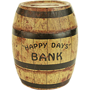 Vintage Happy Days Tin Barrel Bank  c.1940