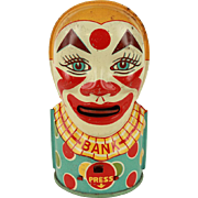 Vintage J Chein Tin Clown Bank c.1935