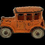 Vintage Hubley Cast Iron Orange Sedan c. 1920