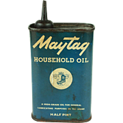 Vintage Maytag Household Oil Half Pint Tin c.1920's/30's