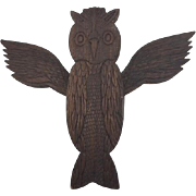 Vintage Folk Art Carving of an Owl